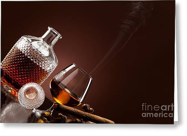 Lifestyle Greeting Cards - A fine alcohol and a smoking cigar Greeting Card by Wolfgang Steiner