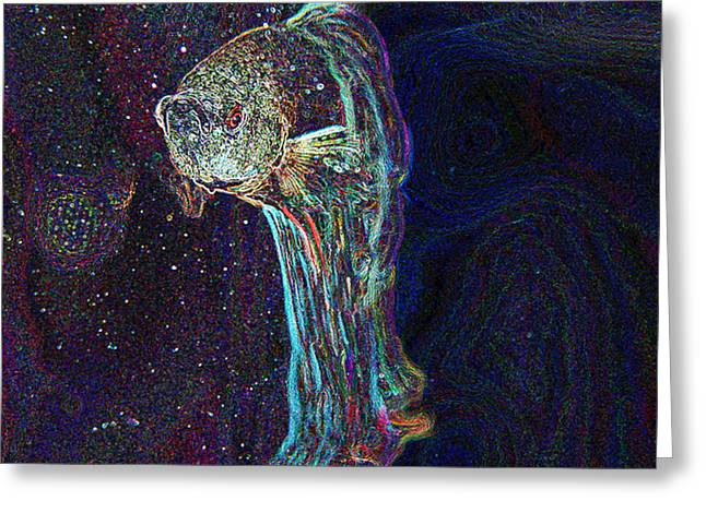 Fish Digital Art Greeting Cards - A Fish Called Poe Greeting Card by Julie Niemela