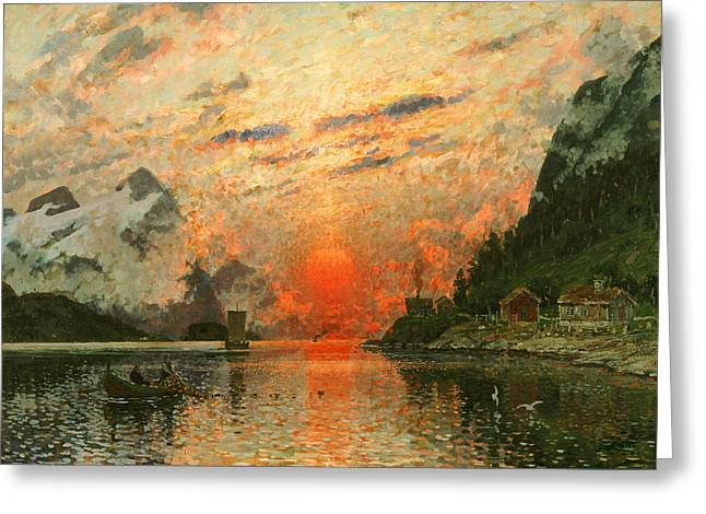 Norwegian Sunset Greeting Cards - A Fjord Greeting Card by Adelsteen Normann