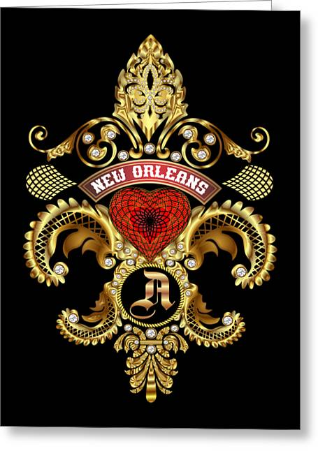 Jambalaya Greeting Cards - A-Fleur-de-lis New Orleans Transparent Back Pick Color Greeting Card by Bill Campitelle
