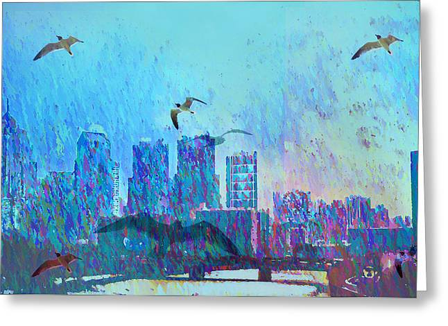 Flying Seagull Digital Art Greeting Cards - A Flock of Seagulls Greeting Card by Bill Cannon