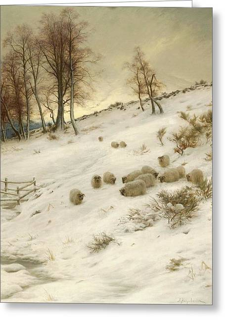 A Flock Of Sheep In A Snowstorm Greeting Card by Joseph