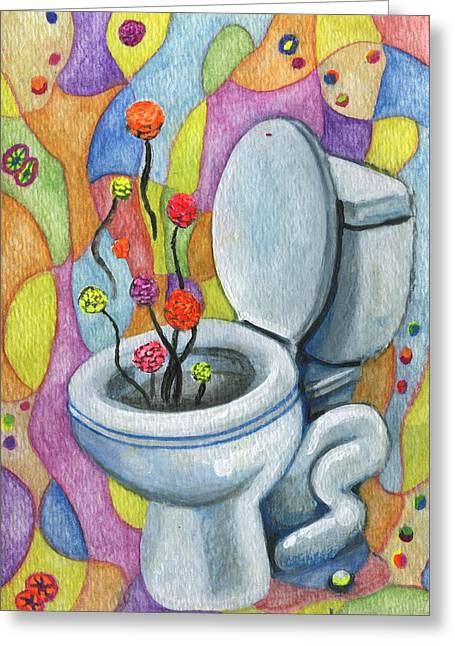 Valentines Day Drawings Greeting Cards - A Flower for not flushing the toilet Greeting Card by Kd Neeley