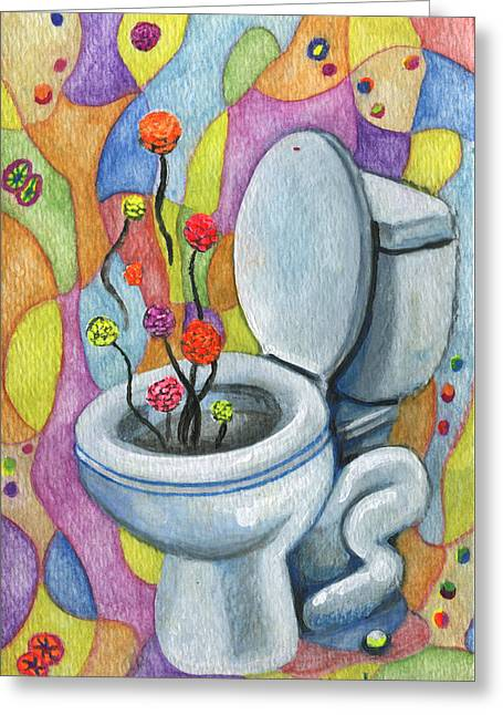 Apology Greeting Cards - A Flower for not flushing the toilet Greeting Card by Kd Neeley