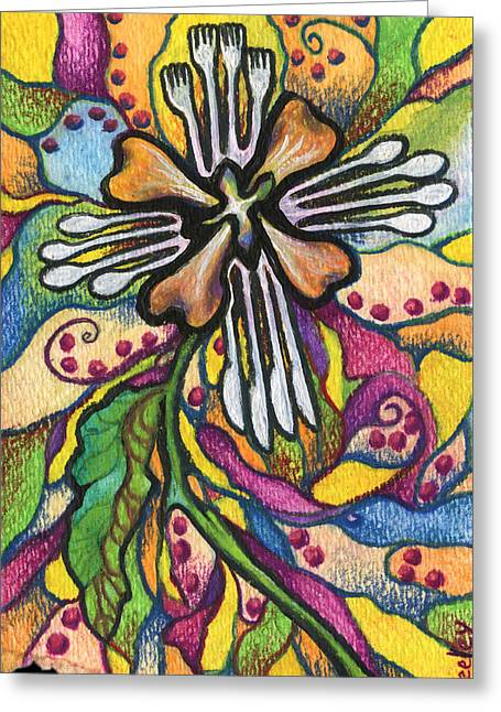 Valentines Day Drawings Greeting Cards - A Flower for not organizing the silverware Greeting Card by Kd Neeley