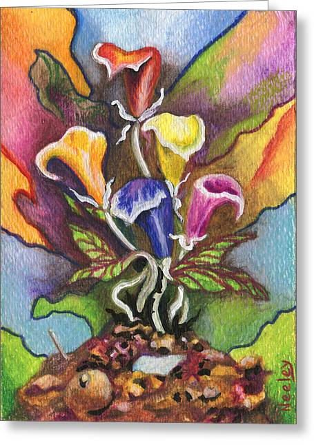Valentines Day Drawings Greeting Cards - A Flower for not sweeping up the pile Greeting Card by Kd Neeley