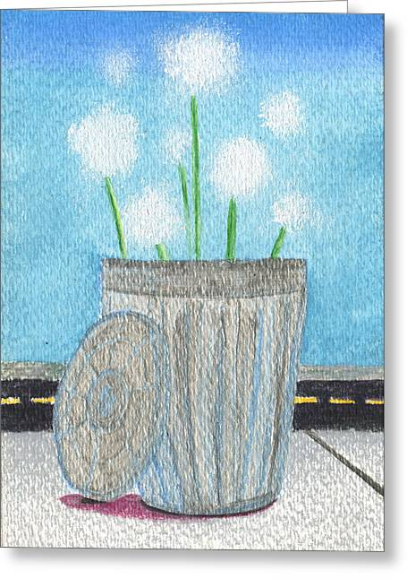 Valentines Day Drawings Greeting Cards - A Flower for not taking the trash out Greeting Card by Kd Neeley