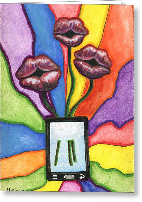 Valentines Day Drawings Greeting Cards - A Flower for not texting you back Greeting Card by Kd Neeley
