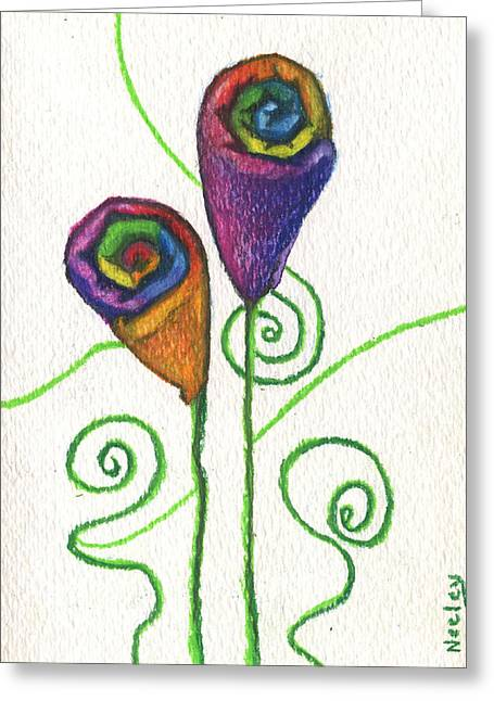 Cushion Drawings Greeting Cards - A Flower for using your special towels Greeting Card by Kd Neeley