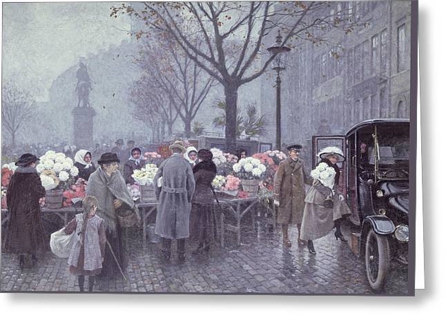 Town Square Greeting Cards - A Flower Market Greeting Card by Paul Fischer