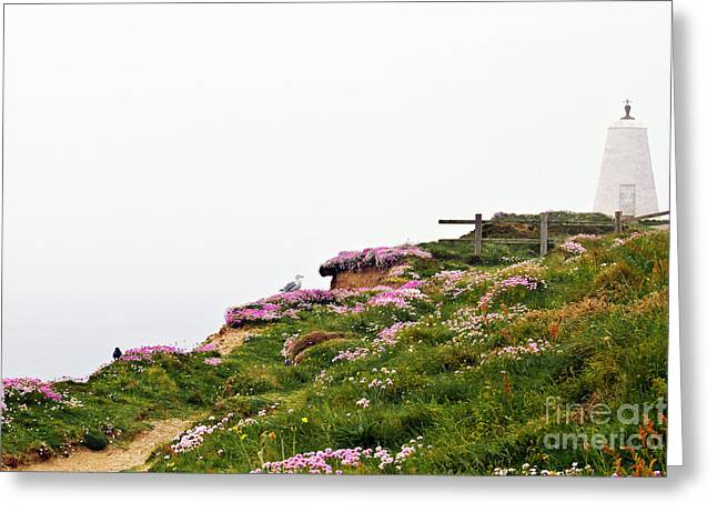 A Foggy Day At Lighthouse Hill Portreath Greeting Card by Terri Waters