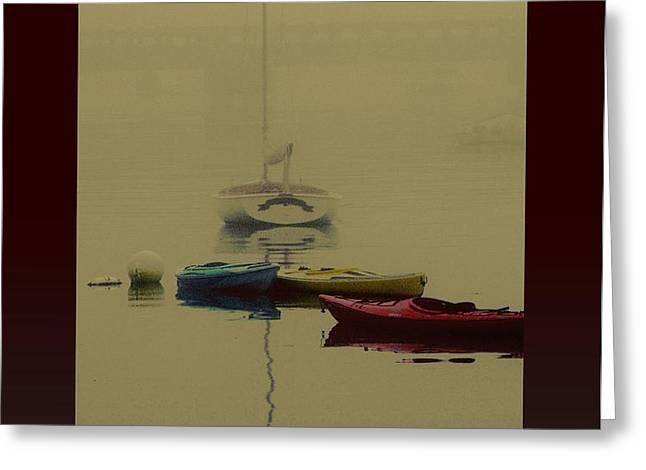 a foggy day on cape cod bay... Greeting Card by Rene Crystal