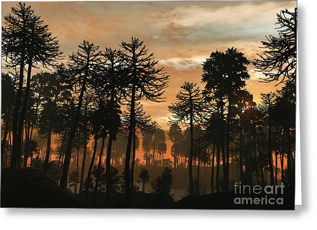 Triassic Greeting Cards - A Forest Of Cordaites And Araucaria Greeting Card by Walter Myers