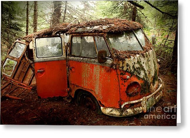 Falling Apart Greeting Cards - A Forgotten 23 Window VW Bus  Greeting Card by Michael David Sorensen