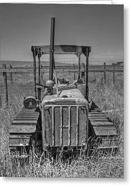 Bulldozer Greeting Cards - A Forgotten Dozer Black and White Greeting Card by Ken Smith