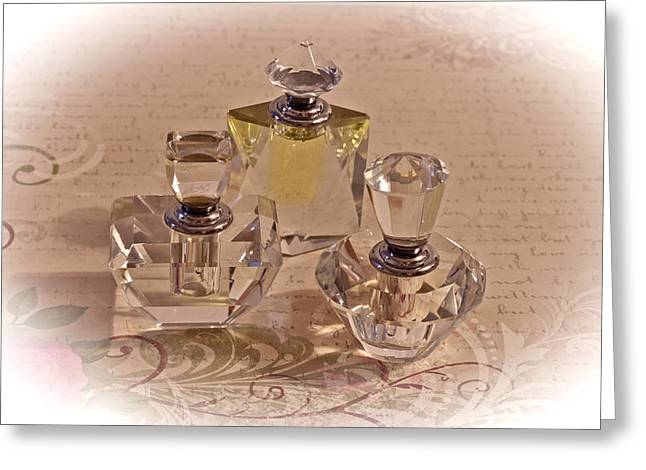 Glass Bottle Greeting Cards - A Fragrant Collection Greeting Card by Sandra Foster