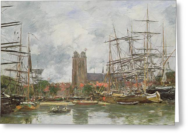 A French Port Greeting Card by Eugene Louis Boudin