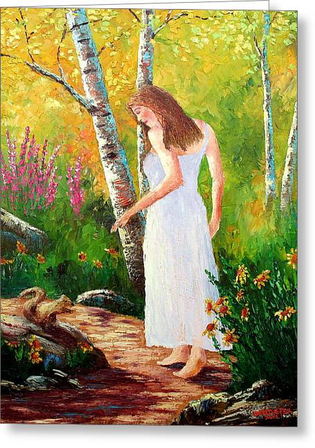 Walk Paths Paintings Greeting Cards - A Friendly Greeting Greeting Card by David G Paul