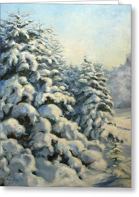 Oil Greeting Cards - A frosty morning Greeting Card by Tigran Ghulyan