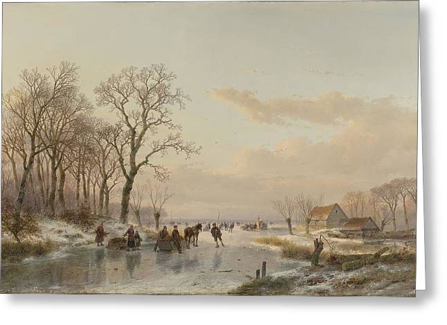 Blue Green Water Drawings Greeting Cards - A Frozen Canal near the River Maas Greeting Card by Andreas Schelfhout