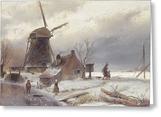 Frozen River Greeting Cards - A Frozen River Landscape with a Windmill Greeting Card by Andreas Schelfhout
