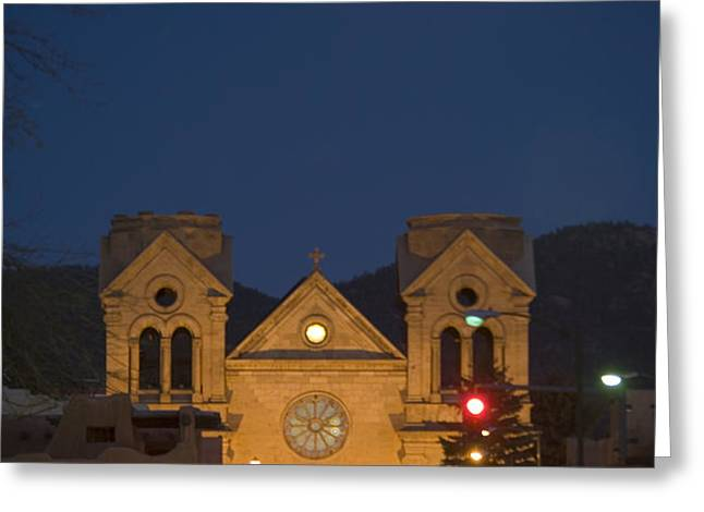 A Full Moon Rises Over  Cathedral Greeting Card by Stephen St. John