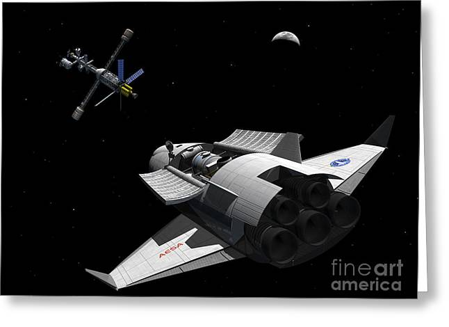 Space Probes Greeting Cards - A Future Generation Space Shuttle Greeting Card by Walter Myers