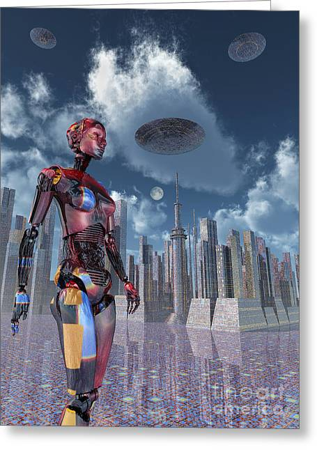 Urban Images Greeting Cards - A Futuristic City Where Robots Greeting Card by Mark Stevenson