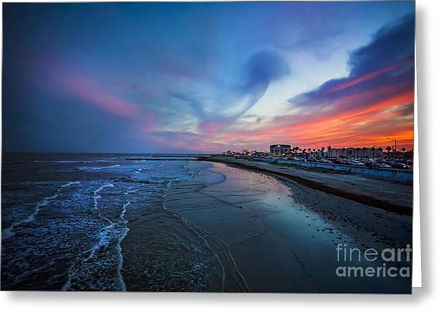 Galveston Greeting Cards - A Galveston Sunset Greeting Card by Katya Horner
