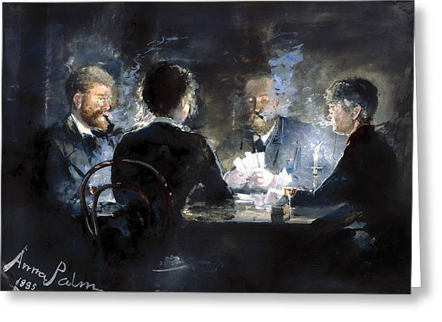 Candle Lit Paintings Greeting Cards - A Game Of Lhombre In Brodum Hotel Greeting Card by Anna Palm