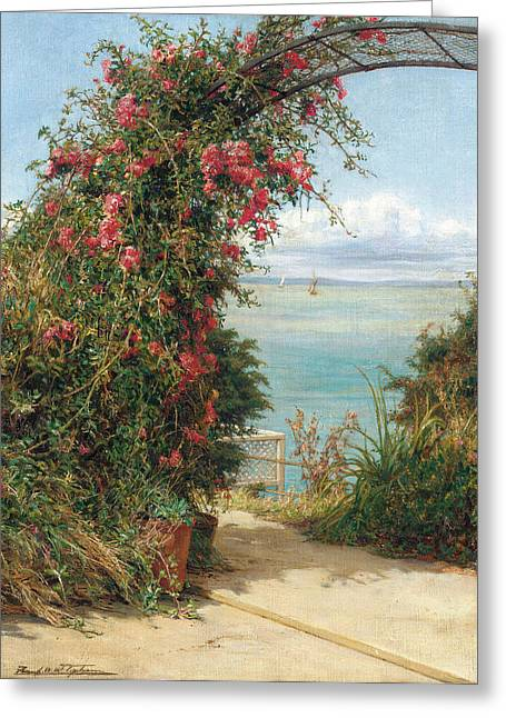 Trellis Paintings Greeting Cards - A Garden by the Sea  Greeting Card by Frank Topham