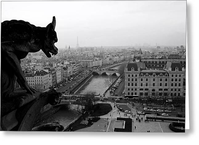 View Sculptures Greeting Cards - A Gargoyles View Of Paris Greeting Card by Lilien
