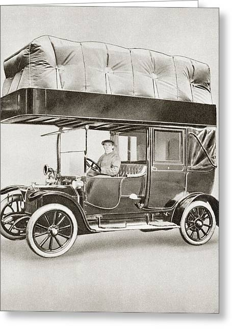 Wwi Greeting Cards - A Gas-bag Taxi During World War I. Due Greeting Card by Vintage Design Pics