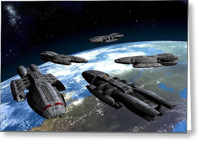A Gathering Of Battlestars Greeting Card by Joseph Soiza