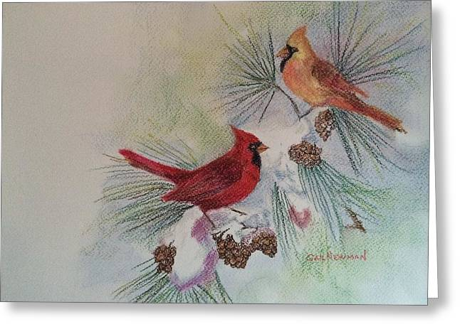 Pine Cones Pastels Greeting Cards - All is Bright Greeting Card by Gail Newman
