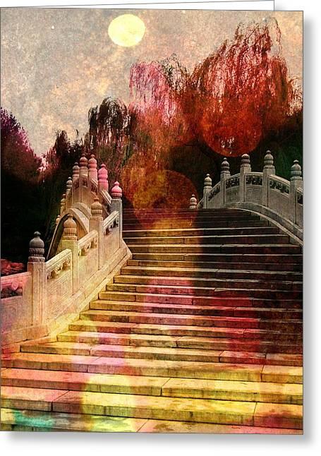 Old Beijing Greeting Cards - A Geishas Garden Greeting Card by Danny Van den Groenendael
