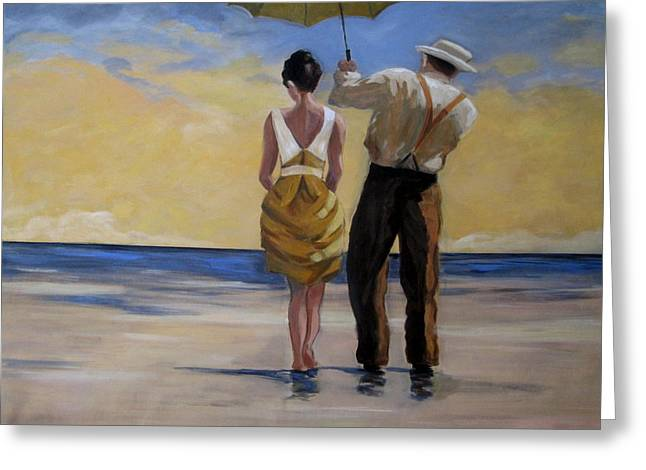 Unbrella Greeting Cards - A gentleman and his lady Greeting Card by Rosie Sherman