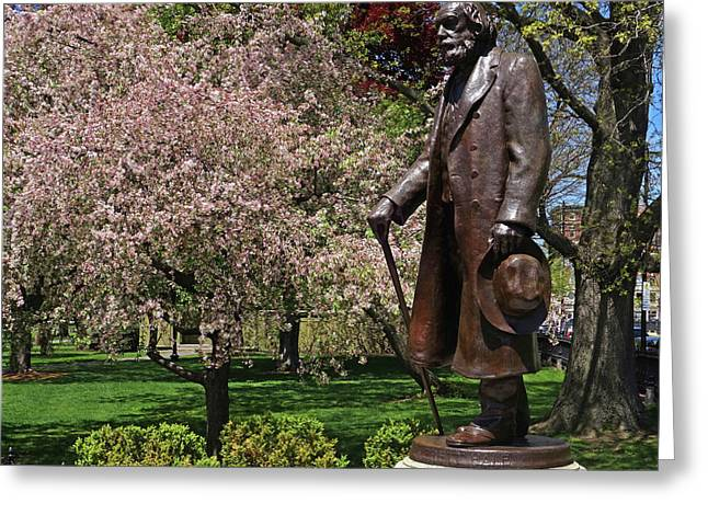 A Gentleman Walking The Public Garden On A Beautiful Spring Day Boston Ma Edward Everett Hale Greeting Card by Toby McGuire