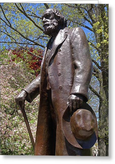 A Gentleman Walking The Public Garden On A Beautiful Spring Day Boston Ma Greeting Card by Toby McGuire