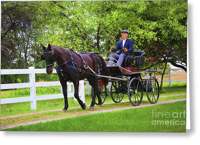 A Gentleman's Sunday Ride Greeting Card by Sharon McConnell