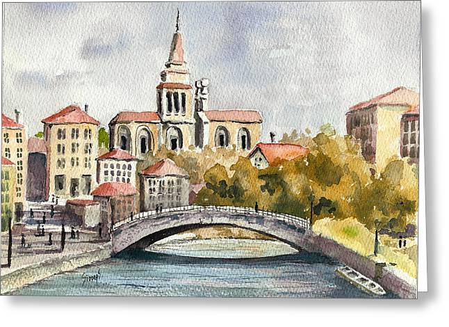 River Paintings Greeting Cards - A German Memory Greeting Card by Sam Sidders