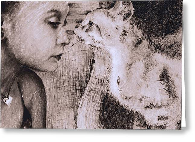 Pensive Drawings Greeting Cards - A Girl and her Cat Greeting Card by Sonya Delaney