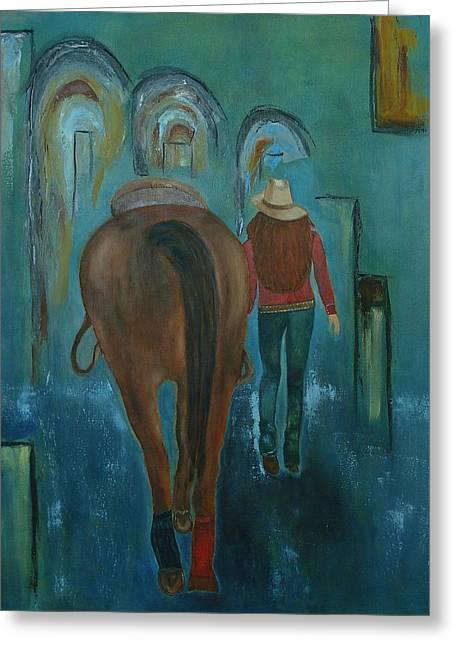 Sheds Greeting Cards - A Girl and Her Horse Greeting Card by Judy Jones