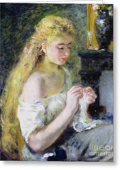 Best Sellers -  - Glass Vase Greeting Cards - A Girl Crocheting Greeting Card by Pierre Auguste Renoir