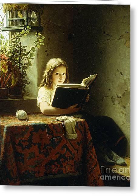 A Girl Reading Greeting Card by Johann Georg Meyer