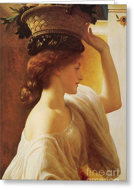 Leighton; Frederic (1830-96) Greeting Cards - a Girl with a Basket of Fruit Greeting Card by Celestial Images