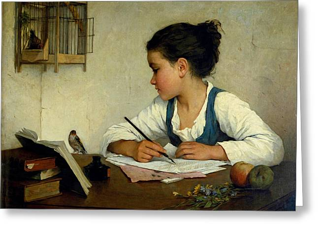 Henriette Greeting Cards - A Girl Writing. The Pet Goldfinch Greeting Card by Henriette Browne