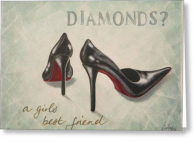 High Heeled Paintings Greeting Cards - A girls best friend Greeting Card by Nicola Hill
