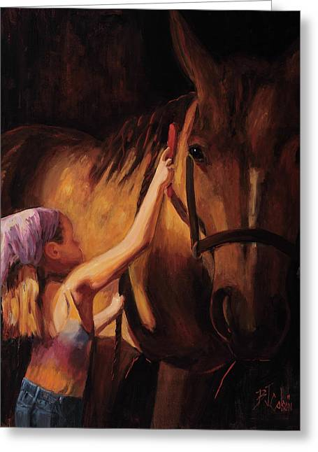 Cowgirl Greeting Cards - A Girls First Love Greeting Card by Billie Colson