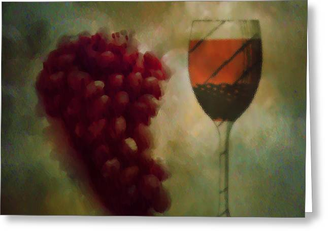 A Glass Of Red Wine Greeting Card by Bill Cannon